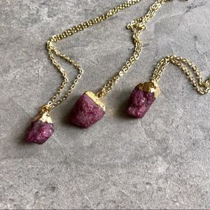 Raw Ruby Gemstone Necklace